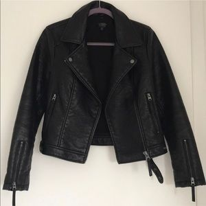 Topshop black leather moto jacket